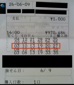 第871回 ロト6 3等当選
